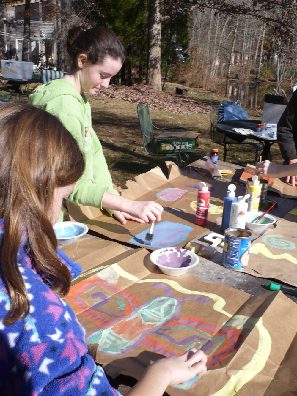Kristin and Sierra painting kites