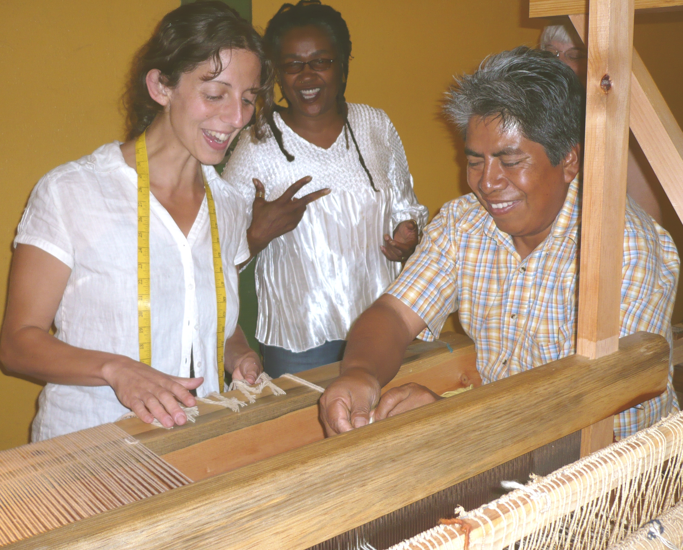 Students with Federico at the tapestry loom