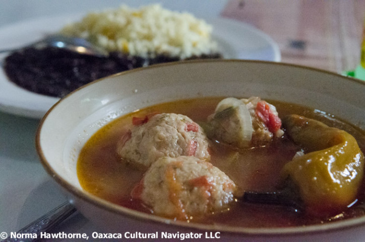 Chicken meatballs in spicy broth at Comedor Mary