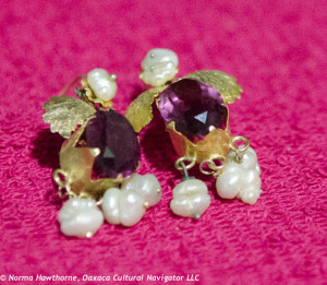 Intense purple, pearls, 10k gold, $250.