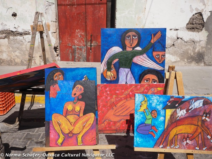 Oil paintings and watercolors for sale on Tlacolula street